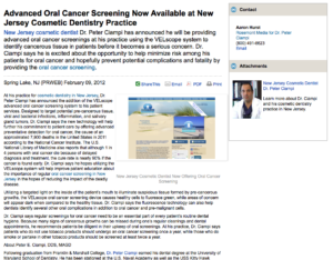 cosmetic, dentist, dentistry, oral, cancer, screening, new, jersey