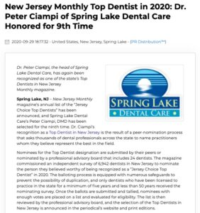 Dr. Peter Ciampi of Spring Lake Dental Care has been recognized as one of New Jersey Monthly's Top Dentists for the 9th time.